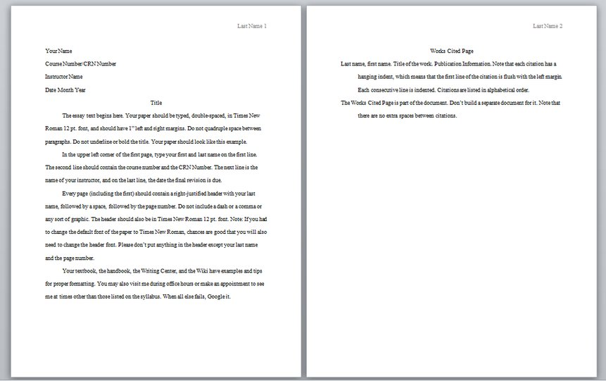 reference page format for essay