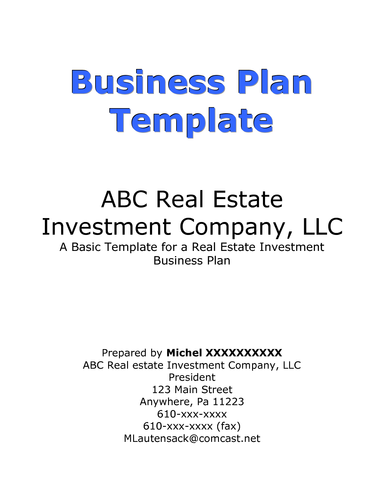 Free business plan cover sheet template