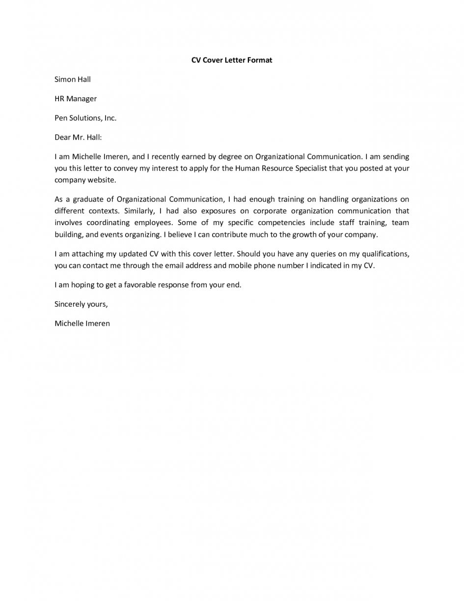 Cover Letter For Cv Curriculum Vitae