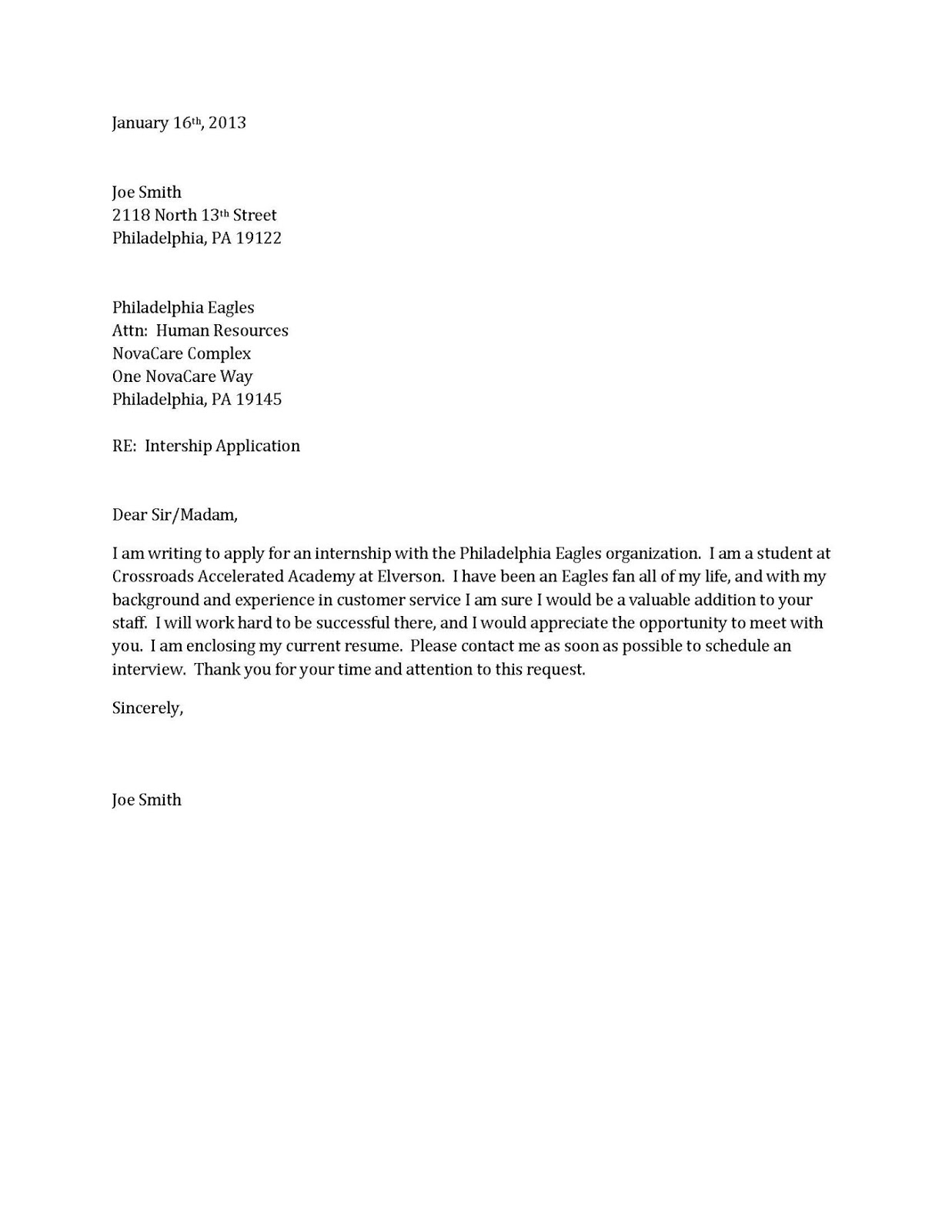 resume cover letter examples job application