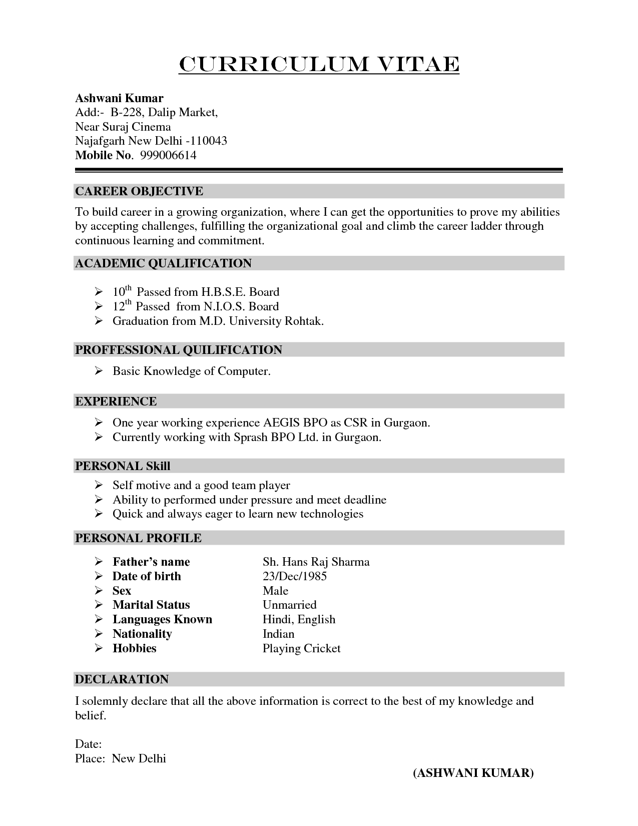 Curriculum vitae and resume format