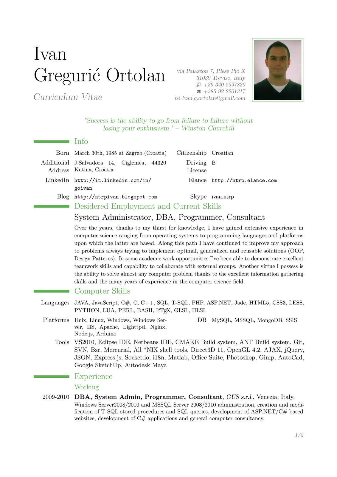 sample resume. curriculum vitae sample. resume and cv format cv ...