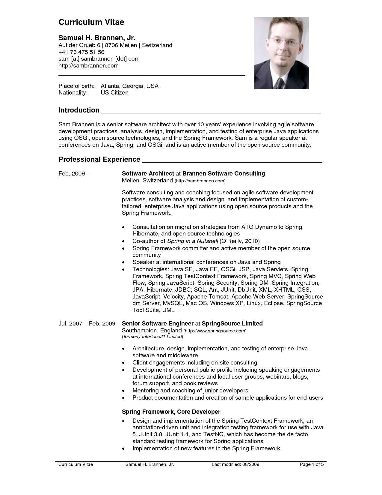 resume cv sample free