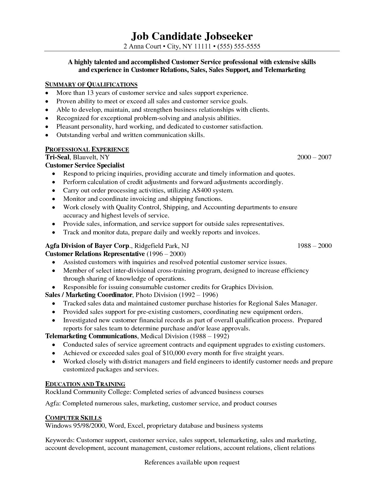 Customer service sales resume examples