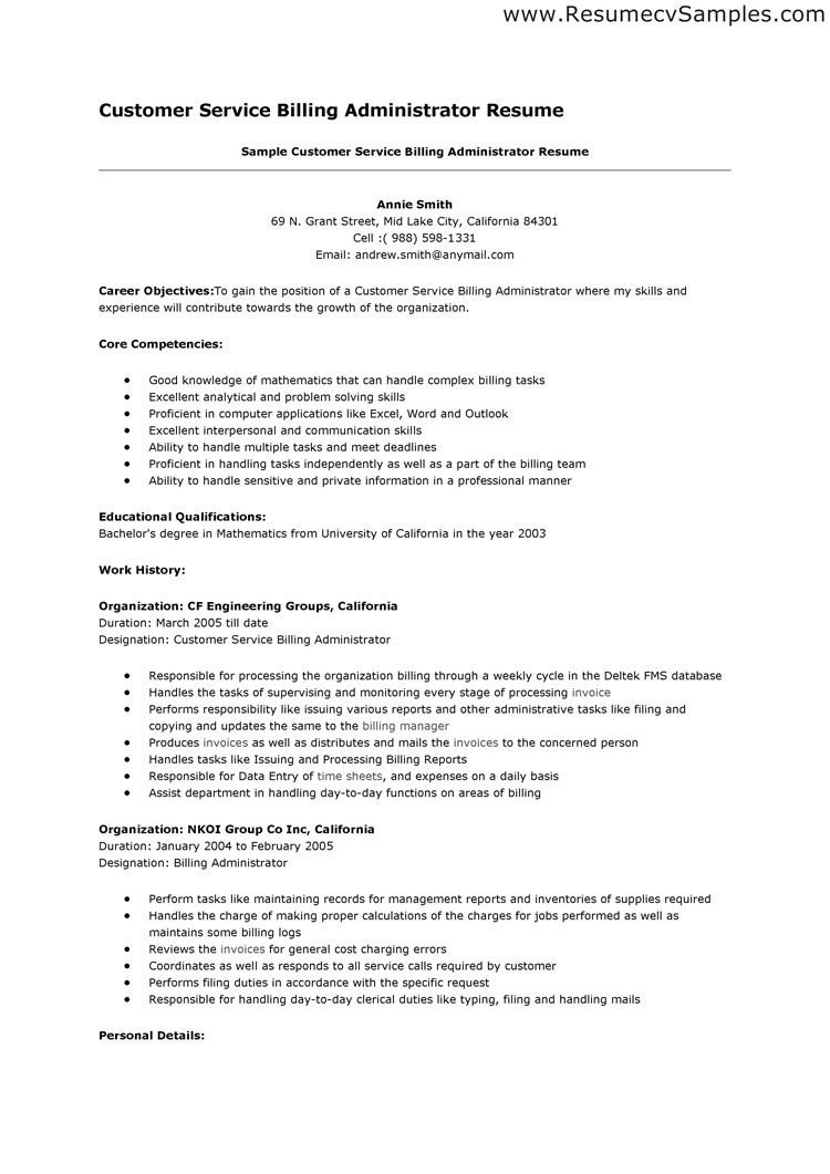 Resume Template Objectives For Customer Service Resumes Customer     MyPerfectResume com