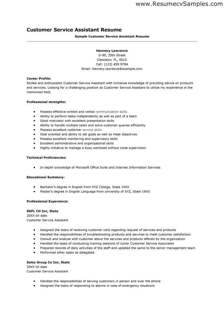 customer service resumes template