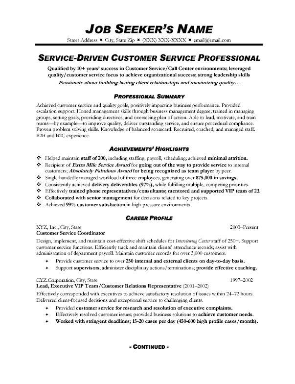 Service Resume Sample Sample Of Job Resume Format Resume Templates