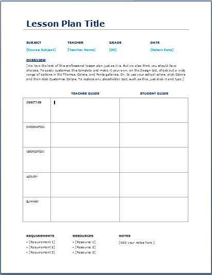 Lesson Plan Template Daily Pasoevolistco - Free printable lesson plan templates
