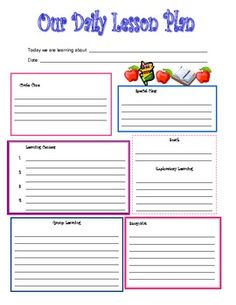 Printable Daily Lesson Plan Template - Early childhood education lesson plan template