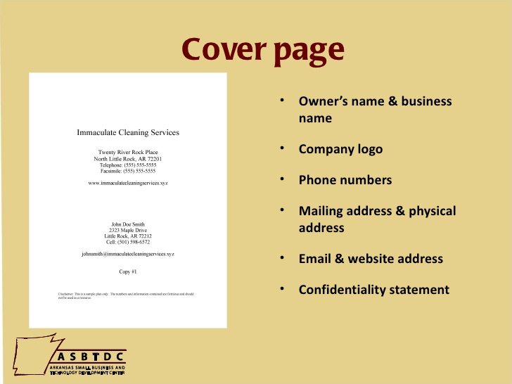 how to write business plan cover page for investors