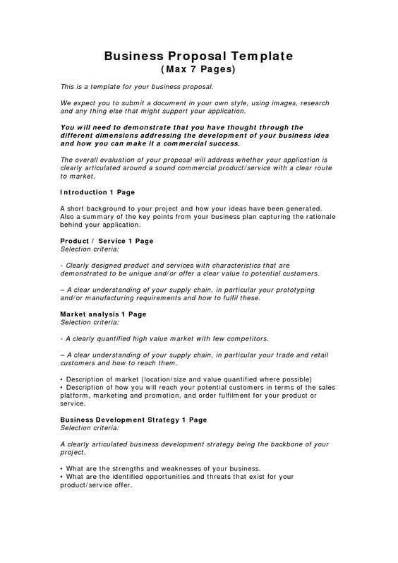 Key Parts Of Business Proposal Template  RoiinvestingCom