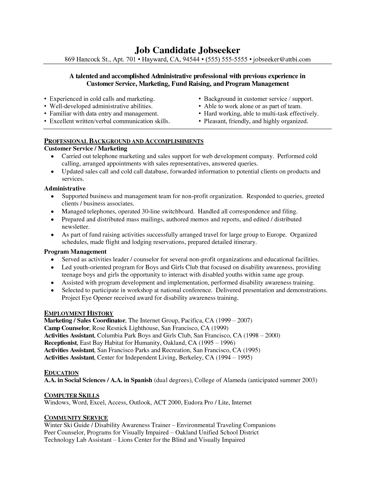 customer service resume format
