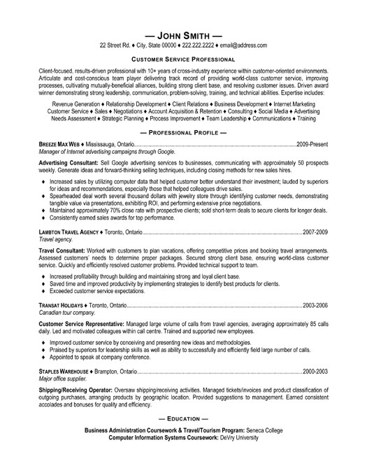 customer service resume format - A Professional Resume Format